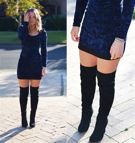 Jackie Steen   Vintage Velvet Dress, Oneoneseven Black Skirt, Sportsgirl Thigh High Boots, White