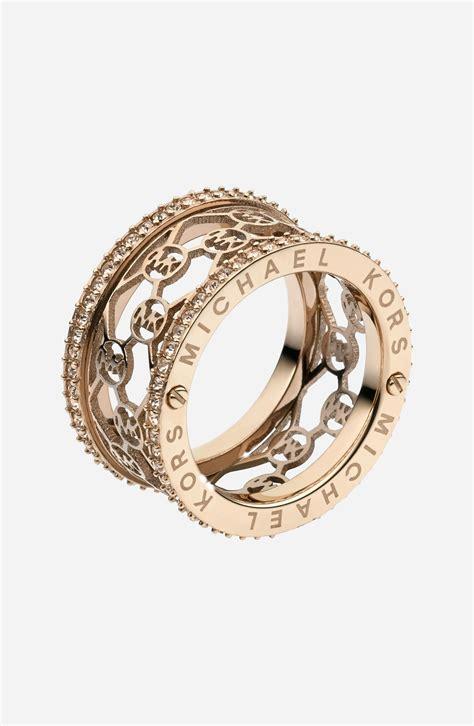 Michael Kors Ring by Michael Michael Kors Monogram Logo Cigar Band Ring In Gold