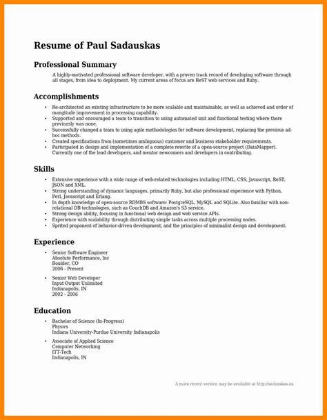 Career Summary Resume Exle 10 career summary sle resume sections