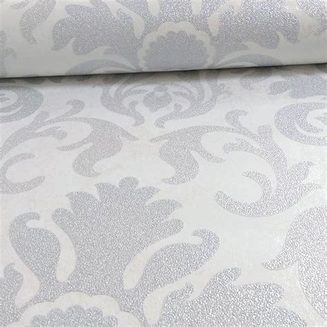 glitter wallpaper merseyside carat damask glitter wallpaper silver white 13343 20