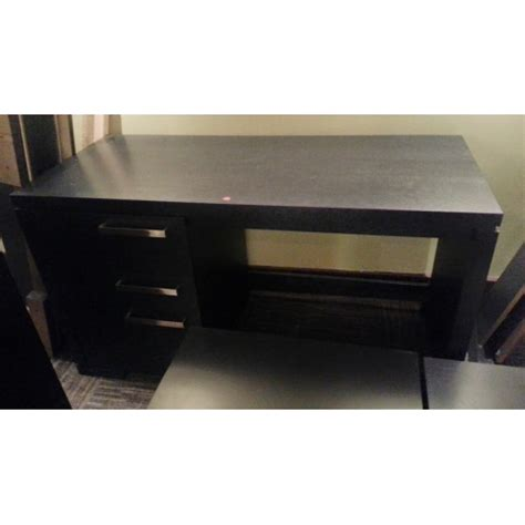 drawer black wood desk wchrome accents part  set