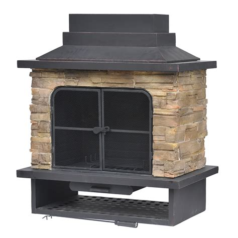 Metal Wood Burning Fireplace by Shop Garden Treasures Brown Steel Outdoor Wood Burning
