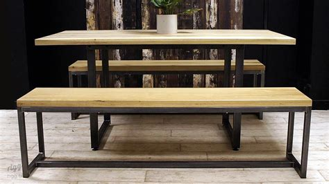 loop dining table benches oak