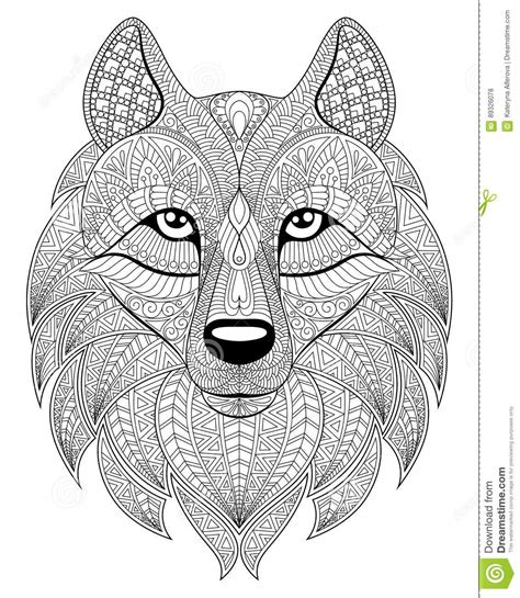 Wolf Zentangle Outline by Wolf In Zentangle Style Antistress Coloring Page Stock Vector Image 89326078