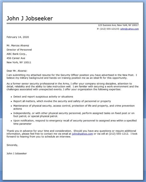 Security Cover Letter 36 wining resume cover letter officer