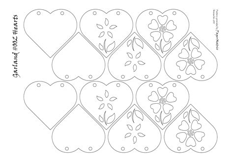 Heart Garlands Papermatrix Garland Template