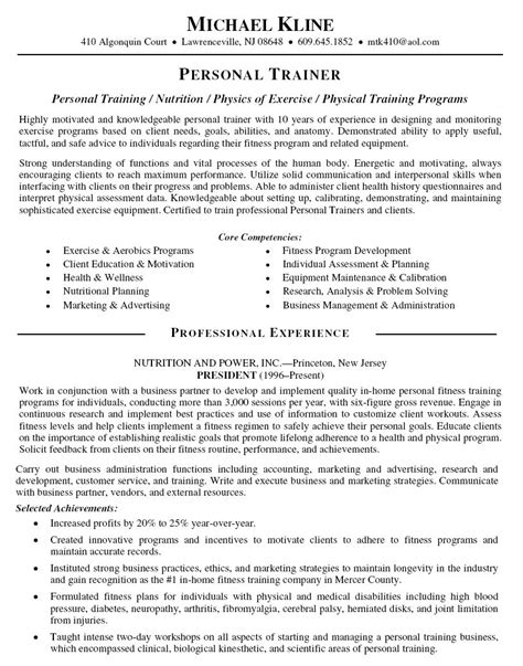personal trainer resume sample pdf format business document