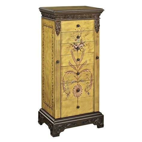 jewelry armoire clearance shop powell masterpiece golden antique parchment floorstanding jewelry armoire at