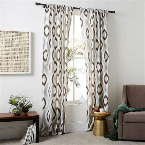 Brown And Gray Curtains Cotton Canvas Grey And Brown Ikat Curtain