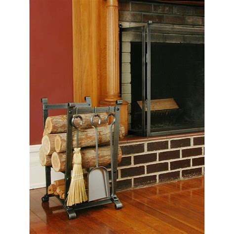 enclume compact curved log rack with fireplace tools with
