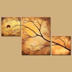 triptyque abstrait peinture oiseaux en arbre branche