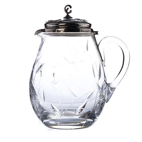 glass pitcher with lid pitcher in glass with lid in silver