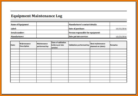 Service Record Template equipment service record template pictures to pin on