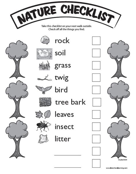 kindergarten activities nature nature checklist at lakeshore learning take the kids on a