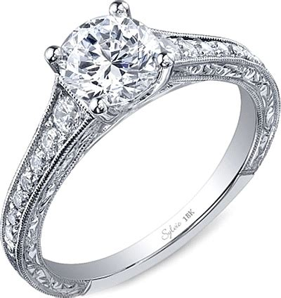 sylvie engraved engagement ring sy886
