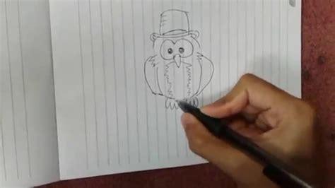 tutorial menggambar owl cara menggambar hewan binatang burung hantu kartun animasi