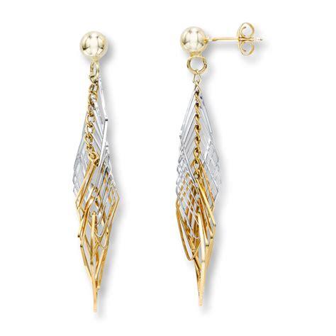 dangle earring dangle earrings 14k two tone gold