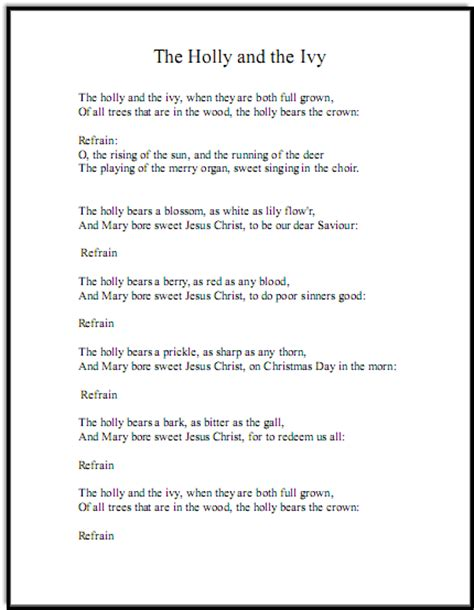 pattern in the ivy lyrics christmas song lyrics and free piano sheet music for holly