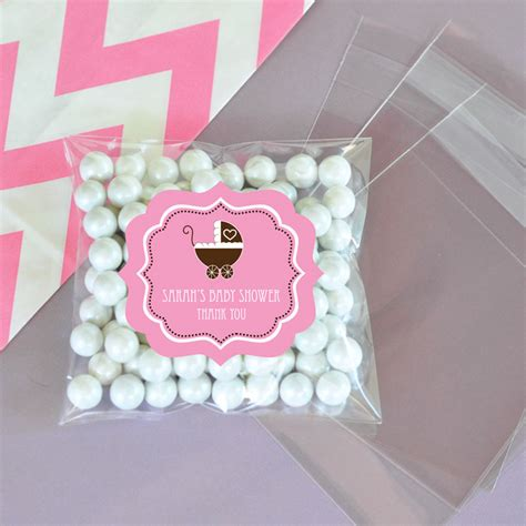 personalized candies for baby shower personalized pink baby shower clear bags set of 24