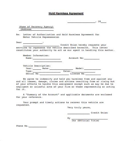 30 Sle Hold Harmless Agreement Templates To Download Sle Templates Hold Harmless Form Template