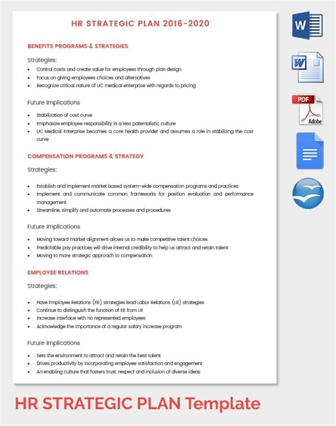 hr strategy template  word  documents   premium templates