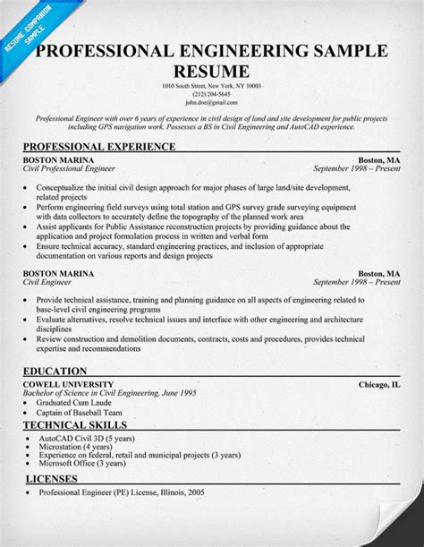 resume formats for engineers professional engineering resume sle resumecompanion