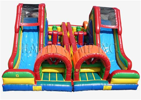double slide way commercial inflatable slide rental bouncer slide pvc carnival course double challenge bounce house water slide