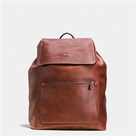 leather backpack coach large manhattan backpack in pebble leather in brown lyst