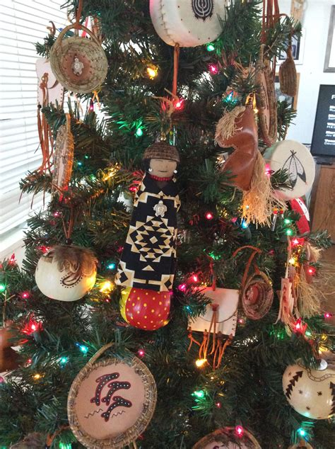 american indian xmas presents that are a donation tree with crafted american ornaments by pita romero macias pita s