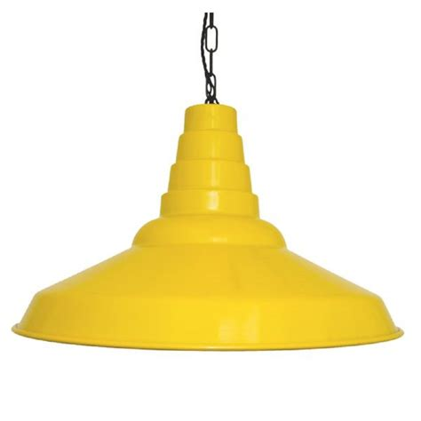 Yellow Pendant Lights Large Yellow Metal Ceiling Shade In Industrial Style Drop