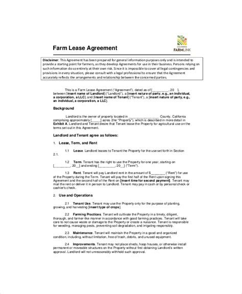 farm rental agreement template land lease template 7 free word pdf documents