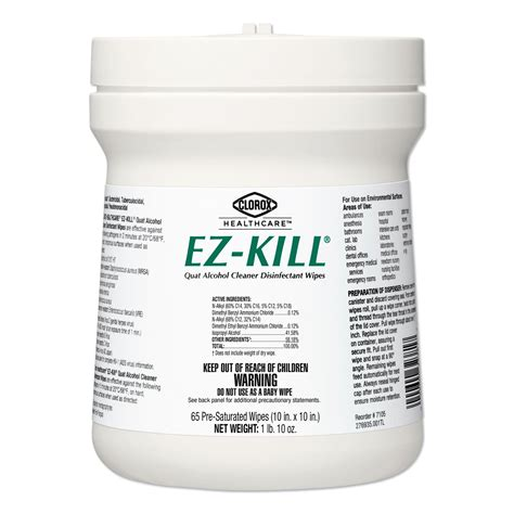 buy clorox healthcare ez kill quat alcohol cleaner disinfectant wipes    canister