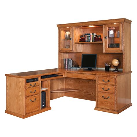 Huntington Oxford Left Handed L Shaped Computer Desk And L Shaped Computer Desk Hutch