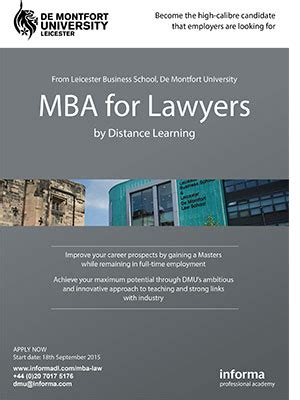 Mba Dmu by Mba For Lawyers By Distance Learning De Montfort