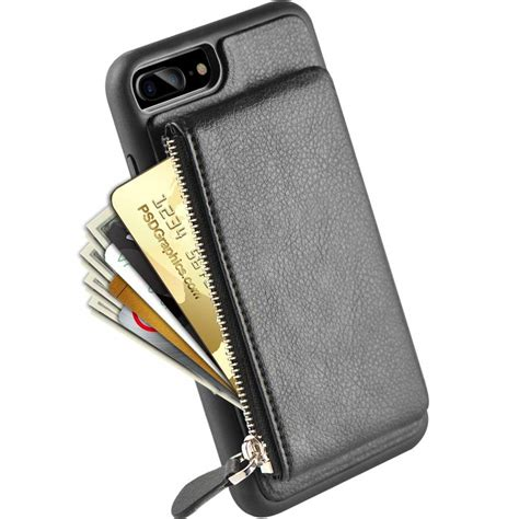 iphone wallet iphone 8 plus zipper wallet iphone 7 plus leather with kickstand lameeku credit card