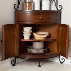 Corner Bakers Rack With Storage Bakers Rack Corner Wrought Iron Wood Kitchen Storage Solid