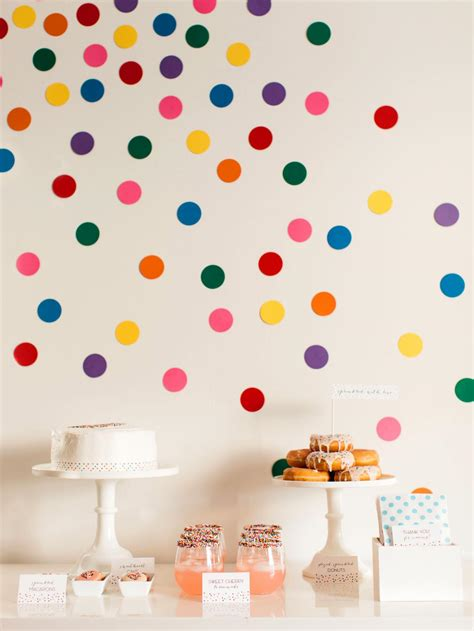 diy confetti wall dots  sprinkles baby shower  tos