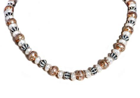 mokume gane silver gold navajo pearl necklace handmade by