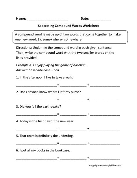 Compound Worksheets by Compound Words Worksheets Separating Compound Words
