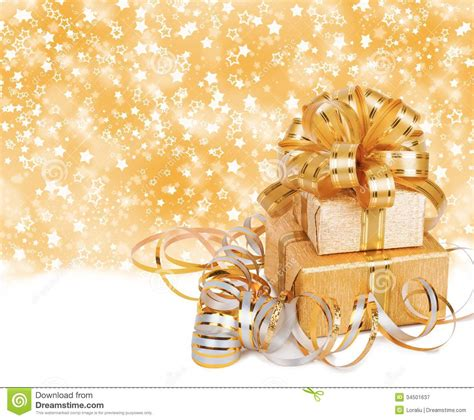 new year gipft paceje rs 99 imege gift box in gold wrapping paper royalty free stock photography image 34501637