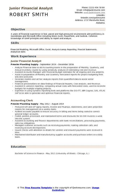 financial analyst objective statement accounting resume sles exles and tips