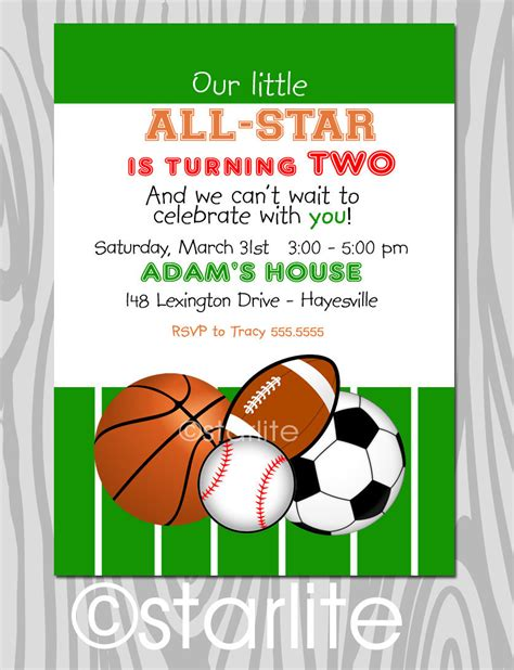 sports themed birthday invitations all star birthday party invitation sports theme by starwedd