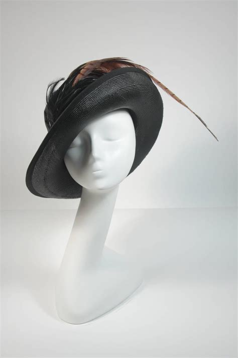 Sale Mr Color 7 mr charles black woven hat with multi color feathers for
