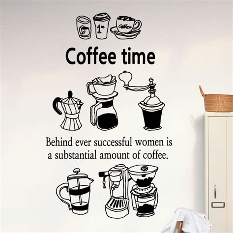 Wall Stiker Quote Wheres Cafe Sticker Dinding Kaca Decal Coffee Shop Vinyl Decal Coffee Cup Coffee Bean Coffee