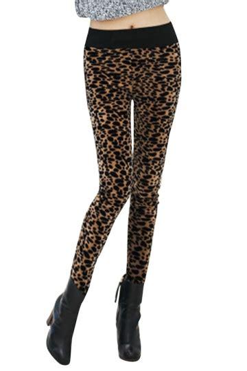 lined patterned leggings womens lined leopard patterned high waist leggings brown