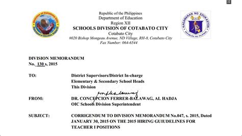 Deped Official Letterhead Deped Cotabato City 2016 Ranking Of I Applicants