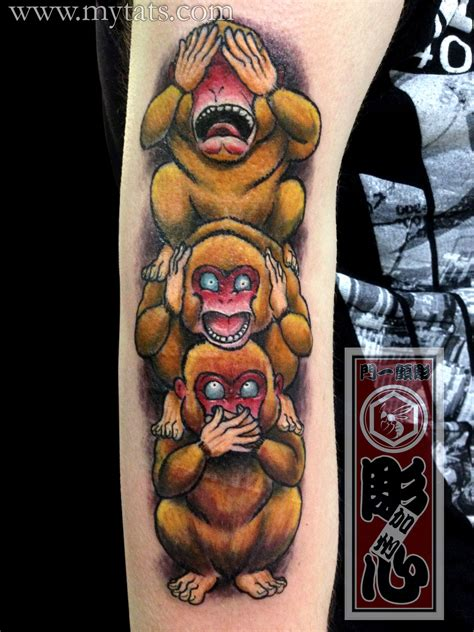 three monkeys tattoo design horishin three wise monkeys three wise monkeys