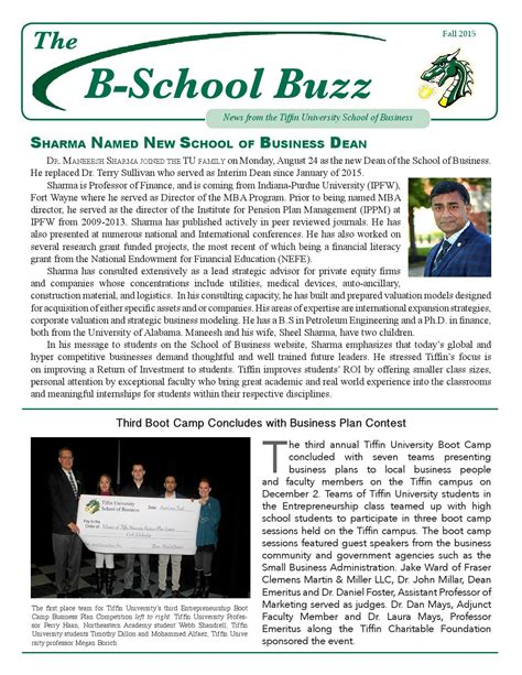 Tiffin Mba Admission Requirements by B School Buzz Fall 2015 By Tiffin Issuu