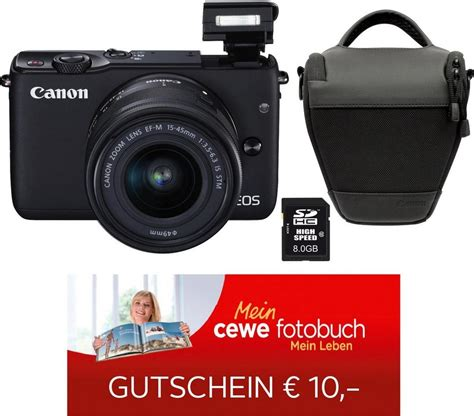 Kamera Canon Eos M10 Kit canon eos m10 kit system kamera ef m 15 45mm 1 3 5 6 3 is stm zoom inkl tasche 8gb sd karte
