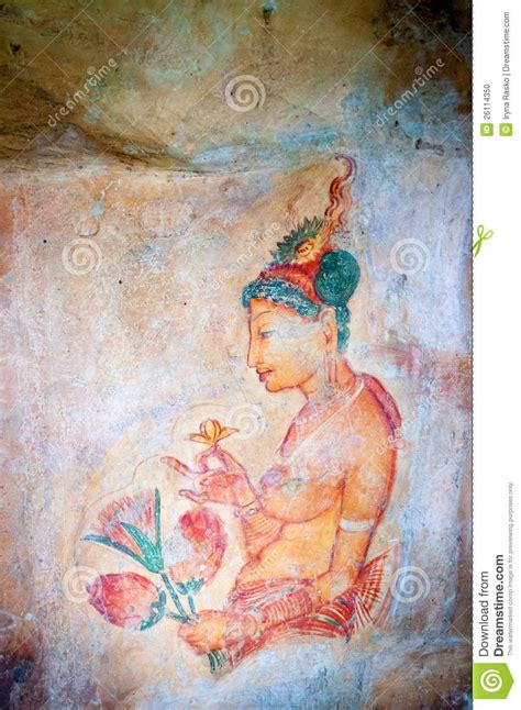 famous wall paintings ancient famous wall frescoes at sigirya sri lanka stock